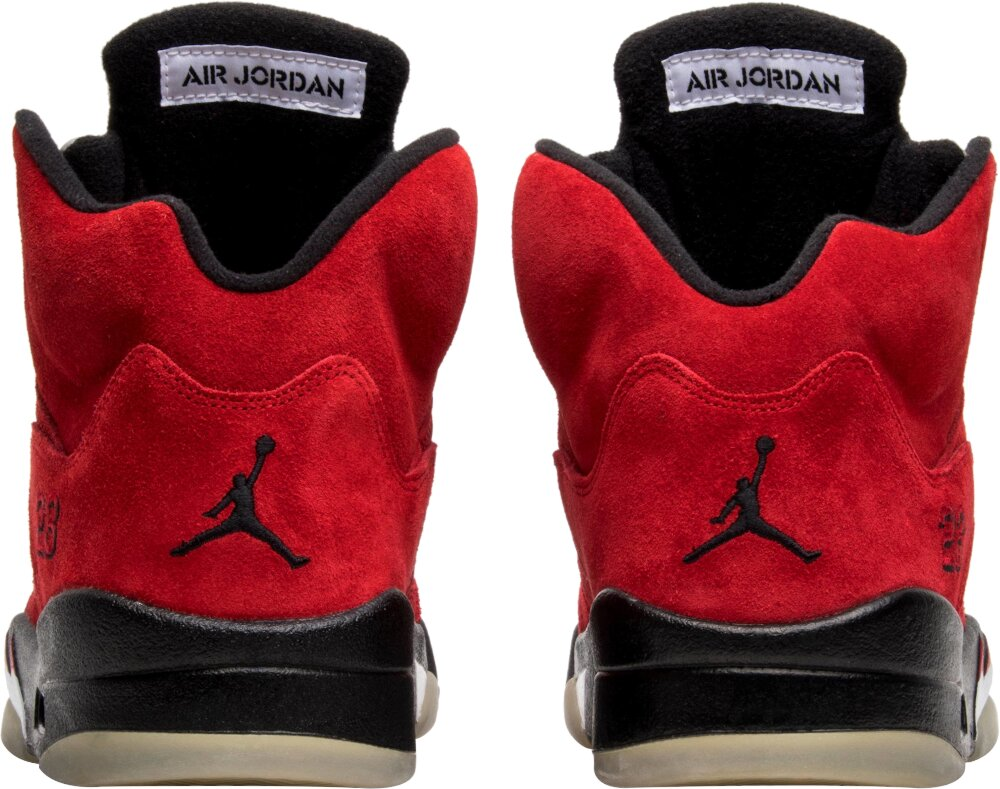 Jordan 5 Red Suede Silver And Black