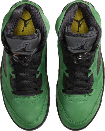 Jordan 5 Retro Green Nubuck Black Yellow