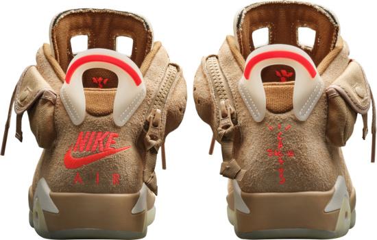 Jordan 6 X Travis Scott British Khaki Suede Sneakers