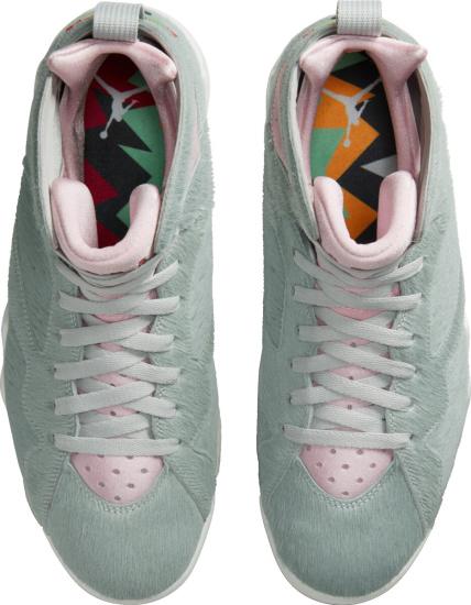 Jordan 7 Retro Light Grey Fur And Pink Sneakers