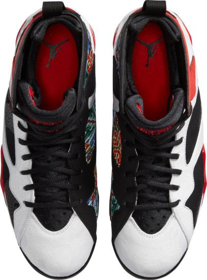 Jordan 7 Retro White Black Red Dragon Print