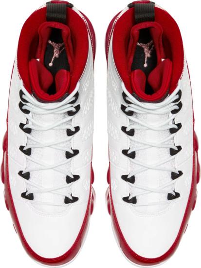 Jordan 9 White Black Patent Red