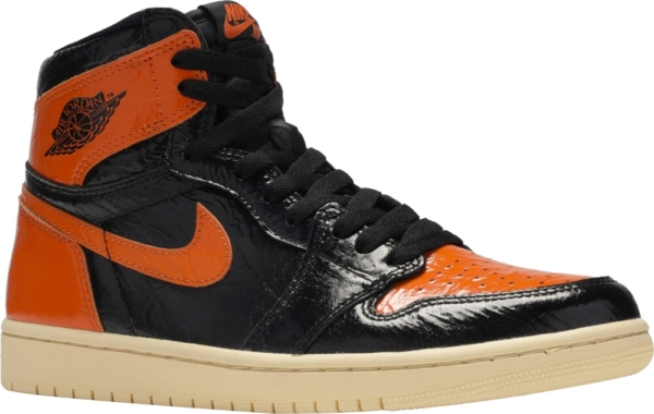 Jordan Black And Orange Patent Sneakers