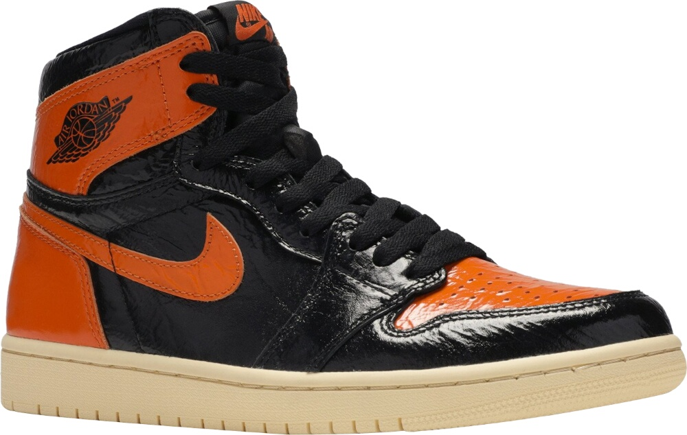 Jordan Black And Orange Patent Sneakers