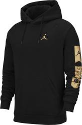 Jordan Black Gold Sleeve Logo Print Hoodie