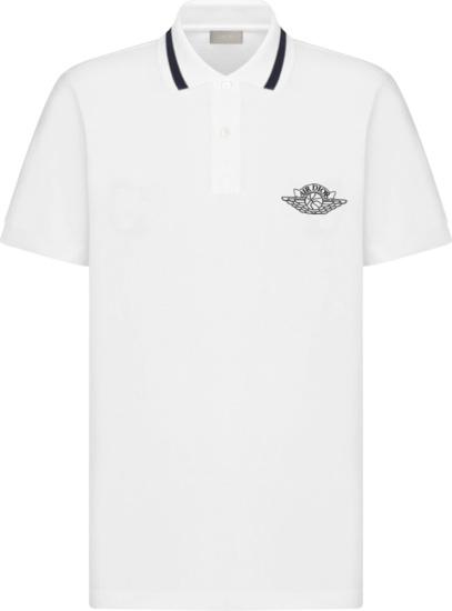 Jordan X Dior White And Navy Polo
