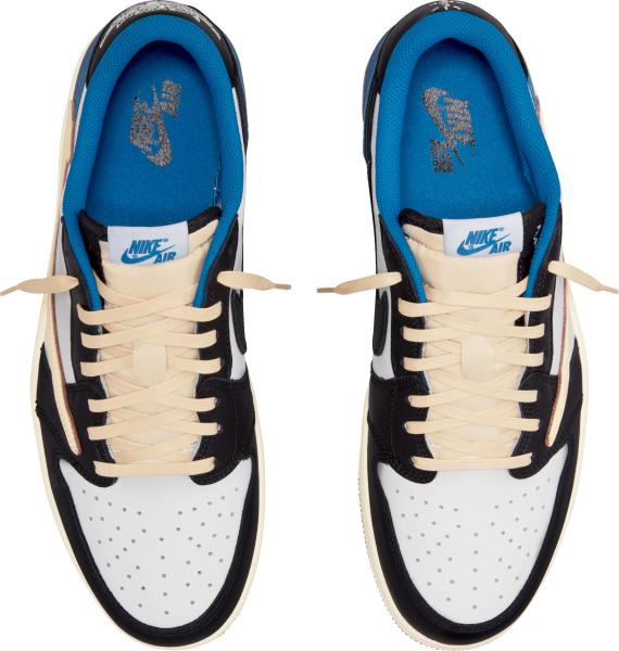 Jordan X Fragment X Travis Scott Low Top White Black Blue And Pink Sneakers