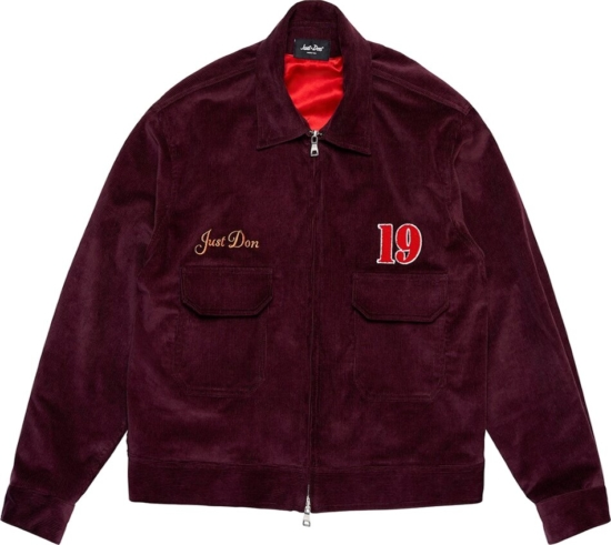 Just Don Burgundy Corduroy Shirt Jacket