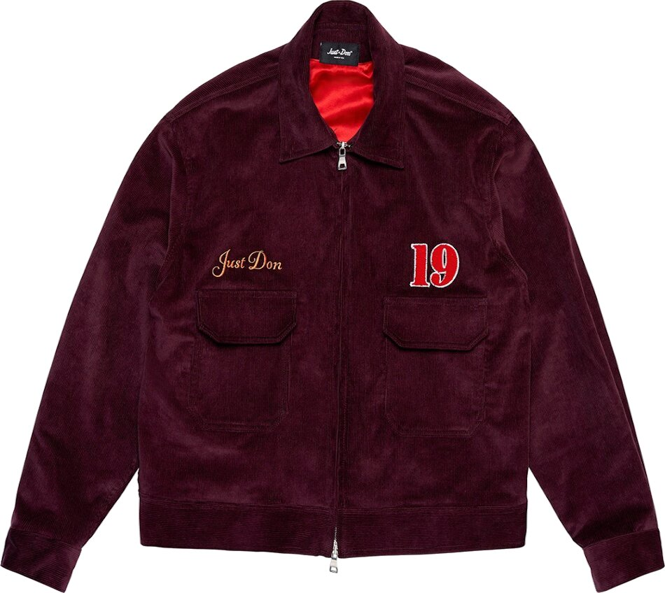 'All In' Embroidered Burgundy Corduroy Jacket