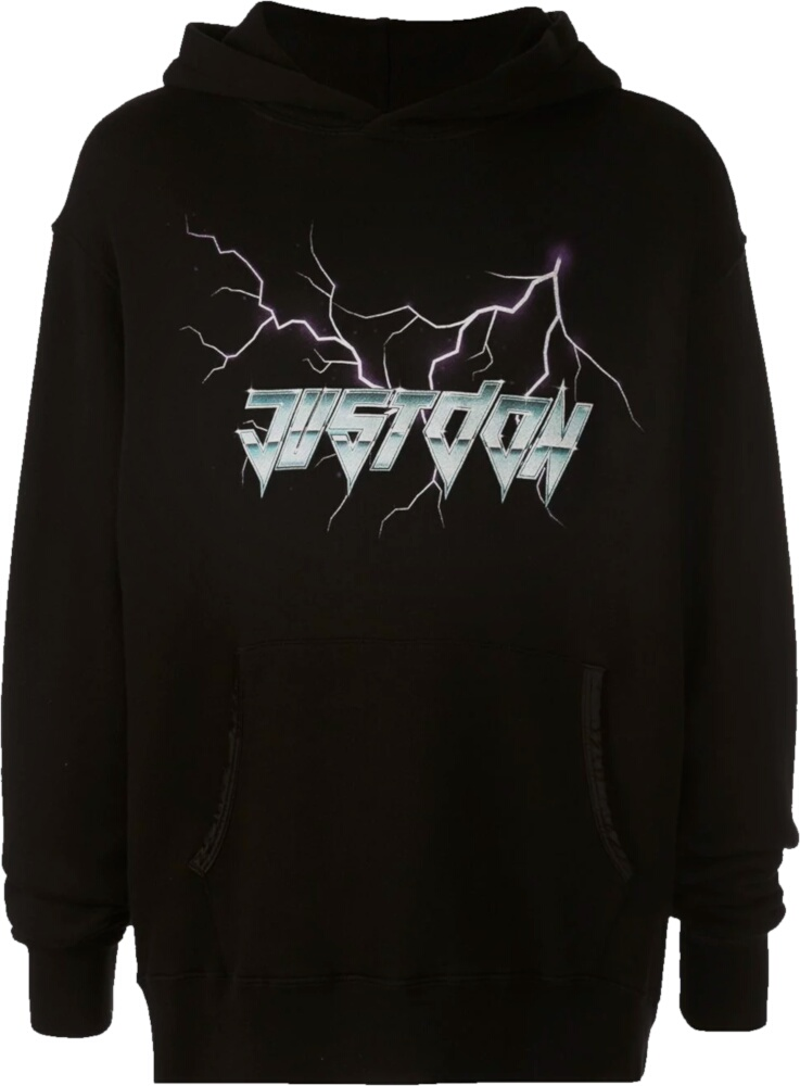 Just Don Lightning Print Black Hoodie