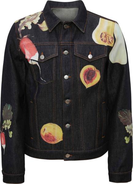 Jw Anderson Dark Blue Denm And Allover Fruit Print Trucker Jacket