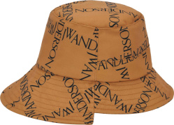 Jw Anderson Light Brown And Allover Black Logo Print Bucket Hat