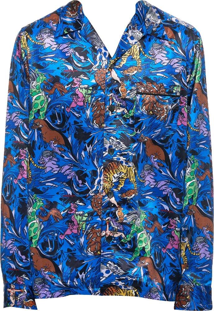 Kadill Hell Print Blue Shirt