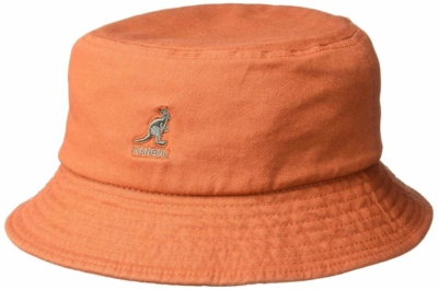 Kangol Orange Cotton Washed Bucket Hat