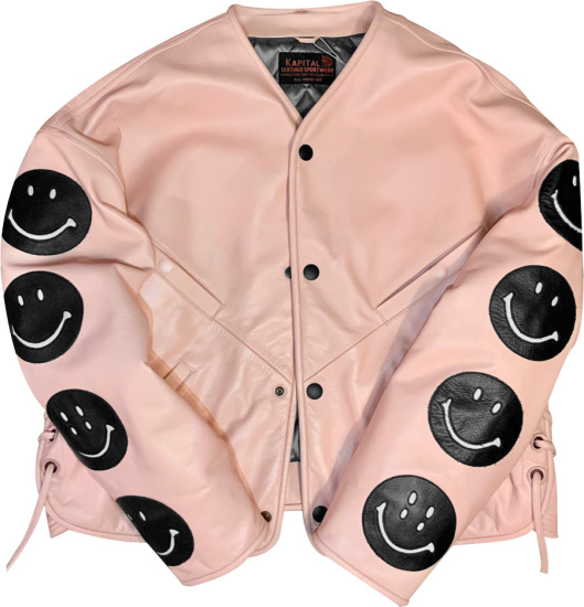 Kapital Pink And Black Smiley Leather Jacket