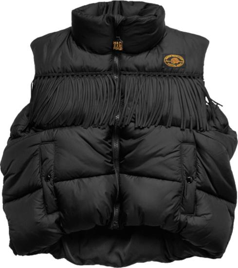 Kapital Black Fringe Puffer Vest