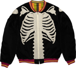Kapital Black Velour Skeleton Bomber Jacket
