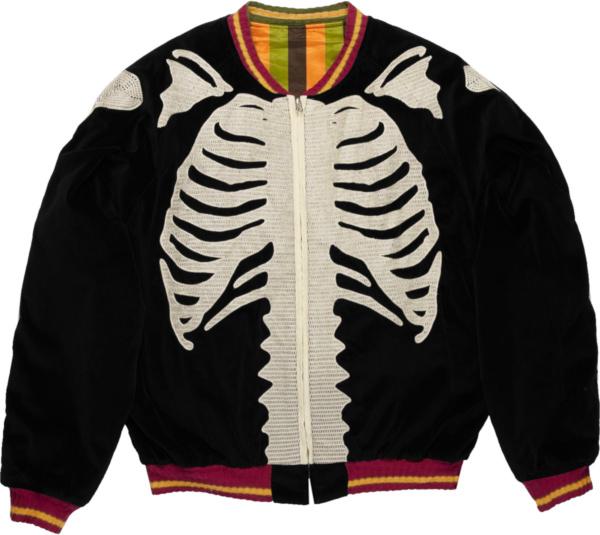 Kapital Black Velour Skeleton Bomber Jacket