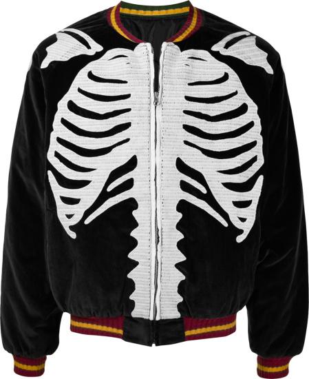 Kapital Black Velour Skeleton Bones Embroidered Bomber Jacket