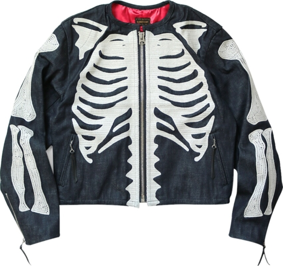 Kapital Denim Skeleton Print Zip Jacket
