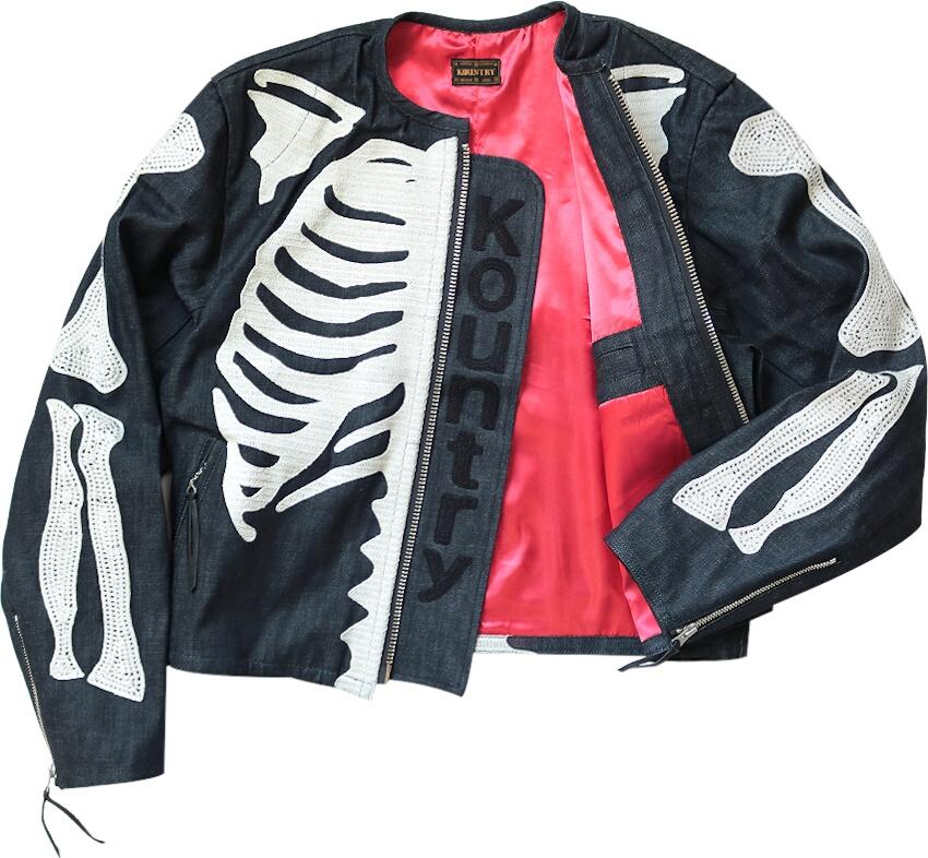 Skeleton Embroidered Denim Jacket