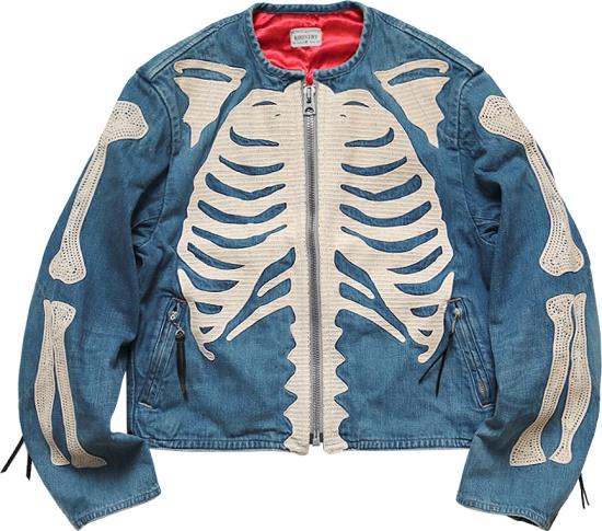 Kapital Light Blue Denim Skeleton Embroidered Jacket