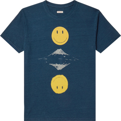 Kapital Smiley Face And Mountain Print Blue T Shirt