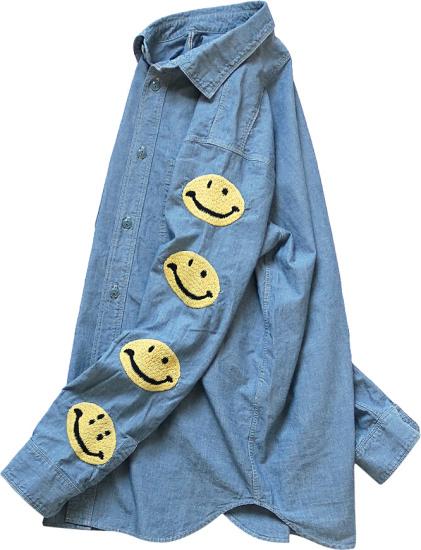 Kapital Smiley Face Ebmroidered Denim Shirt