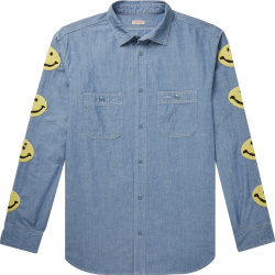 Kapital Smileyface Embroidered Blue Oxford Shirt