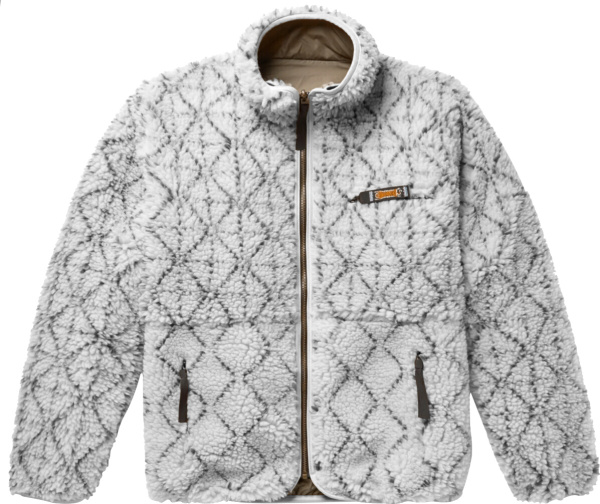 Kapital White And Black Sashiko Sherpa Fleece Jacket