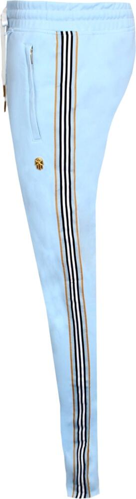 Side-Stripe Light Blue Track Pants
