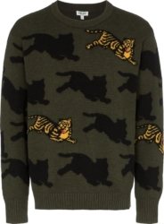 Kenzo Tiger Motif Green Sweater