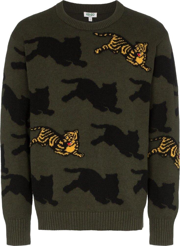 Kenzo Tiger Motif Green Sweater