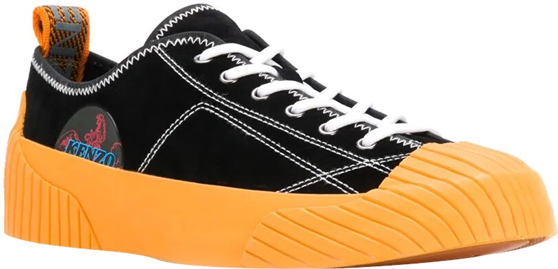 Kenzo Volkano Black And Orange Sneakers