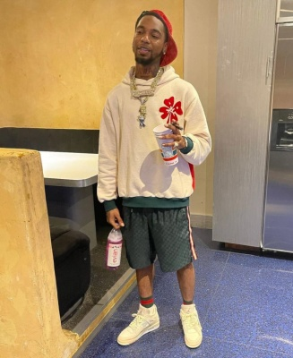 Key Glock Wearing A Gucci Velvet Hat And Gg Short With A Marni Hoodie And Jordan X Off White Sneakers