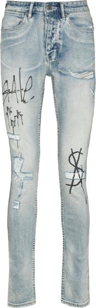 Ksubi Tinted Indigo Van Winkle Graffiti Printed Jeans
