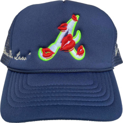 Atlanta Braves Lips Embroidered Blue Trucker Hat