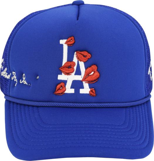 La Ropa Blue La Dodgers Lips Embroidered Trucker Hat