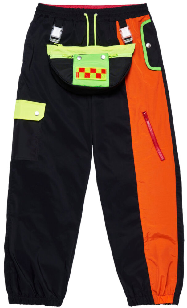 Landlord Black Space Colony Track Pants With Buckle Belt Bag