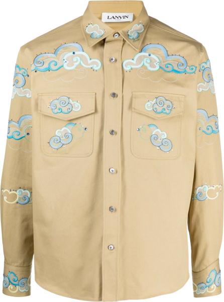 Lanvin Beige And Light Blue Cloud Embroiderd Shirt