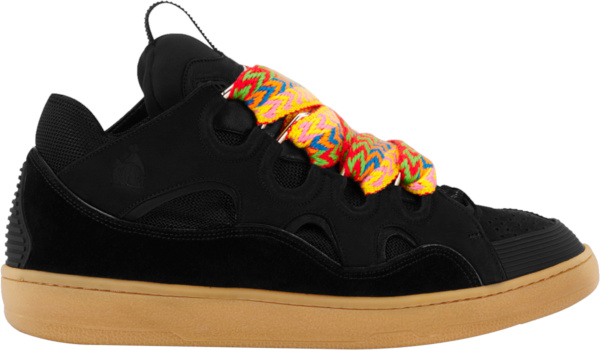 Lanvin Black And Multicolor Lace Curb Sneakers