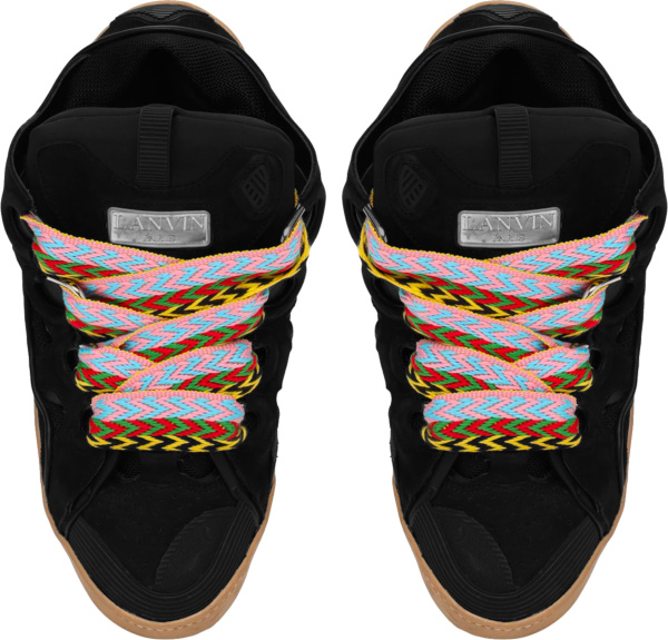 Lanvin Black And Multicolor Lace Oversized Curb Sneakers