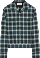 Lanvin Green And Blue Check Flannel Zip Shirt