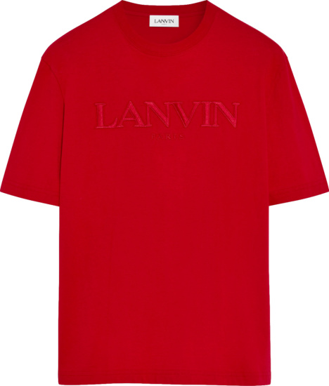 Lanvin Red Logo Embroidered T Shirt