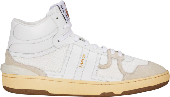 Lanvin White And Ivory High Top Leather Sneakers