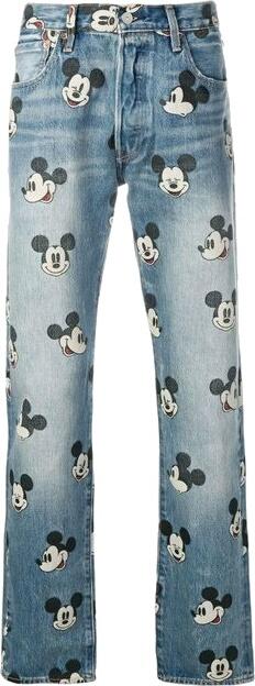 Disney Mickey Mouse Print Jeans