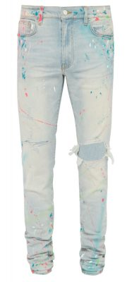 Light Wash Amiri Jeans With Multicolor Graphiti Splatters And Ripped Knee