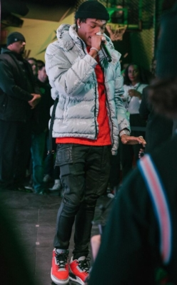 Lil Baby At Nba All Star Weekend Wearing An Moncler X Alyx Jacket Dior Red T Shirt Rick Owens Jeans And Jordan 3s