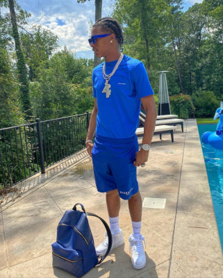 Lil Baby Chills Poolside In An All Blue Lv Balenciaga And Givenchy Fit