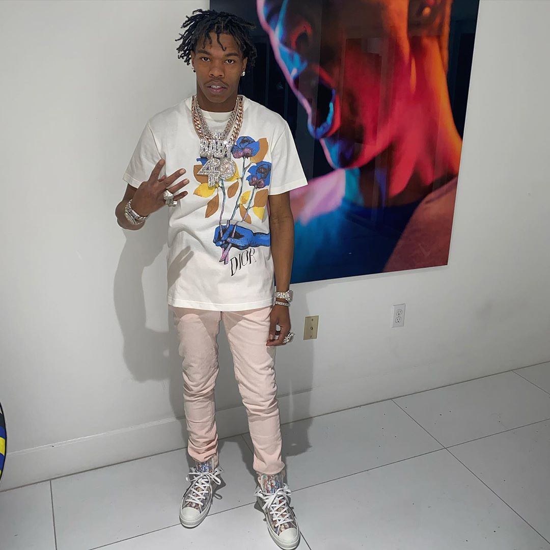 Lil Baby In Dior X Alex Foxton White Tee And Dior Oblique Sneakers